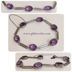 An elegant c1910 bracelet in 830 silver with beautifully faceted amethysts. $365. Call to purchase. #giltjewelry #amethyst #antique #antiquejewelry #purple #elegant #bracelet #gems