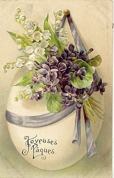 Vintage Easter postcard violets and lily of the valley. Decoupage Vintage, Vintage Easter, Vintage Holiday, Vintage Greeting Cards, Vintage Postcards, Vintage Images, Diy Ostern, Pintura Country, Easter Parade