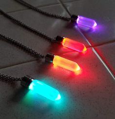 LED Light up Crystal Pendant Necklace - Glow crystal jewelry Necklace (multi color) - Glow Necklace Crystal Pendant, Crystal Jewelry, Crystal Necklace, Pendant Necklace, Cute Jewelry, Jewelry Necklaces, Jewellery, Magical Jewelry, Fantasy Jewelry