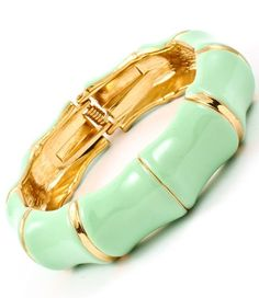 Wide Mint Green Enamel Bamboo Style Hinged Bangle Bracelet Trendy Gold ToneThis is a Stunnng Wide Trendy Mint Green Enamel Bracelet in a Bamboo Style.All done in Metal Casting in a gold tone.It measures 1 inches wide and it is hinged for an easy fit. Affordable Jewelry, Trendy Jewelry, Jewelry Gifts, Handmade Jewelry, Bangle Bracelets, Bangles, Rolling Ring, Imitation Jewelry, White Enamel