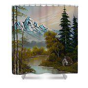 Mountain Sanctuary Shower Curtain Purchasing Art Great Artists