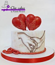 - cake by Radmila Birthday Cake For Husband, Husband Cake, Rodjendanske Torte, Fondant Cake Designs, Artist Cake, Beautiful Birthday Cakes, Valentines Day Cakes, Cake Truffles, Cake Decorating Supplies