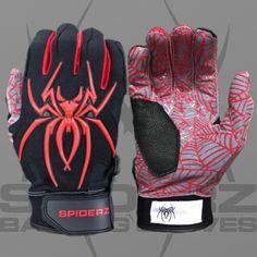 6883c6d31 2017 Spiderz HYBRID – Black Red Batting Gloves
