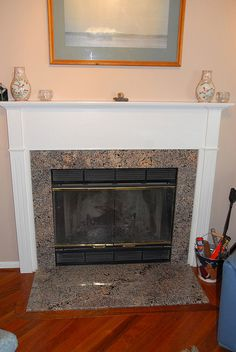 Love this look! Granite fireplace with step and mantle. | For the ...