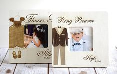 Check out this item in my Etsy shop https://www.etsy.com/listing/243951730/ring-bearer-and-flower-girl-frames-ring