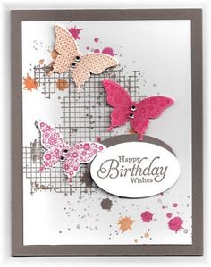 card by Scrappin' and Stampin' in GJ Scrapbooking, Scrapbook Cards, Happy Birthday, Birthday Wishes, Butterfly Cards, Flower Cards, Bee Cards, Stamping Up Cards, Handmade Birthday Cards