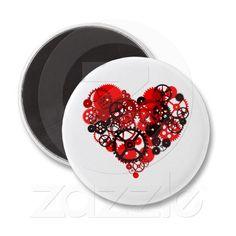 MECHANICAL STEAMPUNK HEART REFRIGERATOR MAGNET