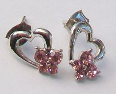 A pair of small heart shaped earrings in silver tone metal with decorative faceted pink stones Earposts and butterflies for pierced ears Measurement Vintage Wedding Jewelry, Heart Shaped Earrings, Valentines Jewelry, Small Heart, Pink Stone, Heart Jewelry, Stone Earrings, Ear Piercings, Heart Shapes