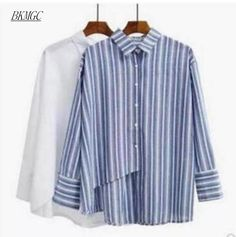 Plus size clothes tops Irregular sweep women blue white vertical stripe shirt female long sleeve blouse 2017 preppy style shirt