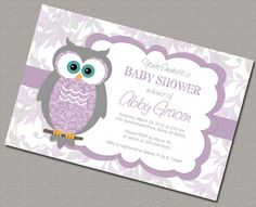 Baby girl Owl Baby Shower Invitations with Owls by alittletreasure, $15.00