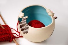 Tabby Cat Shaped Ceramic Yarn Bowl with turquoise by ShopBeckyZee
