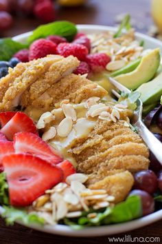 Chicken Berry Salad with homemade Honey Mustard Dressing - one of the heartiest, most delicious salad recipes you'll try! Made EASY with Tyson's chicken.