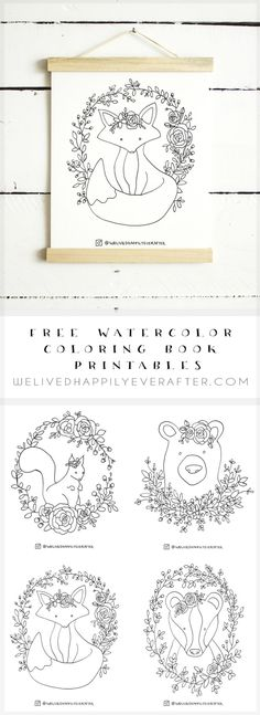 Free Watercolor Adult Coloring Book Printable Sheets – Woodland Forest Animals Part 1 (Fox, Bear, Squirrel, Badger) (We Lived Happily Ever After) Fox Coloring Page, Coloring Pages For Boys, Printable Adult Coloring Pages, Animal Coloring Pages, Coloring Book Pages, Free Coloring, Coloring Sheets, Kids Coloring, Tier Doodles