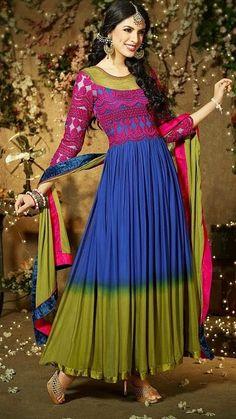 #Multi Colored Long #Salwar Kameez  Check out this page now :-http://www.ethnicwholesaler.com/salwar-kameez