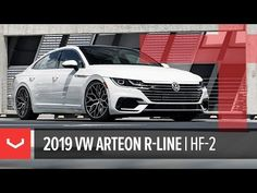The Vossen Wheel, as seen on the all-new 2019 VW Arteon R-Line, lowered by H&R Springs and featuring the standard Brushed Gloss Black finish. Vw Arteon, Line, Bmw, Youtube, Black, Cars, Fishing Line, Black People, Youtubers