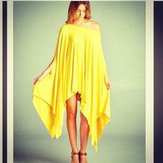 Yellow Cape Tunic Dress NWOT