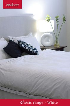 Our white bed linen set has a fine piped edge of black to give it a perfect finish