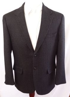Savile Row Wool 2 Button Black Herringbone Sport Coat Leather Knot Buttons 42 R #SavileRow #TwoButton
