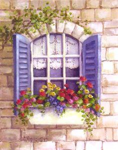 Window box with bluw shutters