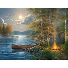 DIY Diamond Painting by Numbers Kits, Boat by The Lake, Forest Tree Bonfire Landscape, Full Drill Rhinestones Paint with Diamonds Crystal Diamond Art (Landscape) Landscape Art, Landscape Paintings, Thomas Kinkade Art, Kinkade Paintings, Pictures To Paint, Large Art, Fine Art Gallery, Scenery, Canvas Art