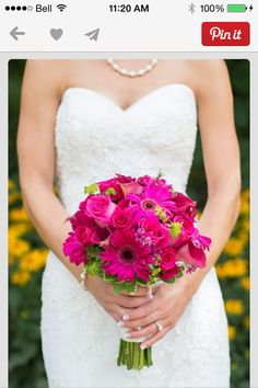 Beautiful pink and navy blue wedding at an arboretum Again, a little bit of lime with the hot pink wedding bouquet. I also like it that this one isn't so perfectly formed. It looks more natural like this. Hot Pink Weddings, Blue Wedding, Wedding Colors, Dream Wedding, Trendy Wedding, Boquette Wedding, Wedding Photos, Wedding Rings, Wedding Ideas