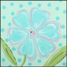 Aqua Daisy Imagination Square Hand Painted Canvas Art - Renditions by Reesa Kids Canvas Art, Diy Canvas, Art Wall Kids, Art For Kids, Canvas Ideas, Wall Art, Spring Painting, Painting For Kids, Daisy Painting
