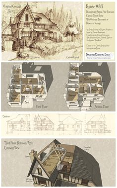 Drawing House Plans, Plan Drawing, House Drawing, Sims House Plans, House Floor Plans, Storybook Homes, Storybook Cottage, Elevation Drawing, Sims Building