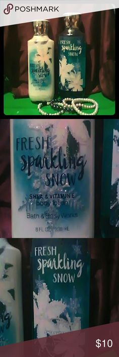Bath and Body Shower gel and body lotion , Fresh Sparkling Snow, Shea & Vitamin E. Very little used. I'm more of a vanilla girl. It was a Christmas Gift, but my grandson liked it. His hair smelled pretty.  There is no shine or Shimmer in the lotion Bath and Body  Other