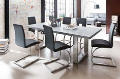Savona Large Dining Table In Grey With Stainless Steel Legs - Dining Tables, Glass, Wooden, High Gloss, Furnitureinfashion UK Grey Dining Tables, Solid Oak Dining Table, Stainless Steel Dining Table, Steel Table, Grande Table A Manger, Faux Leather Dining Chairs, New Living Room, Dining Room Furniture, Maui