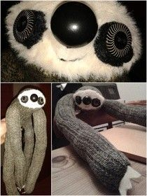 Sock Sloth.  Make your own sock sloth with one pair of socks!