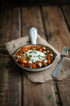 This Spiced Sweet Potato and Goat Cheese Egg Skillet is made from real, whole ingredients, and is freezer friendly!