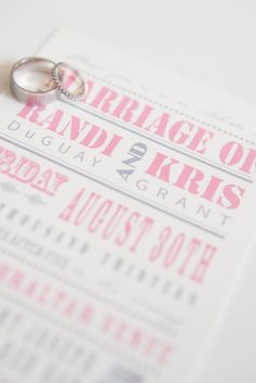 Wedding Invitations | #Pink and #Gray | See the #ShabbyChic wedding on SMP - http://www.StyleMePretty.com/canada-weddings/manitoba/winnipeg/2014/01/21/diy-vintage-wedding-in-winnipeg-manitoba-canada/  Rachwal Photography