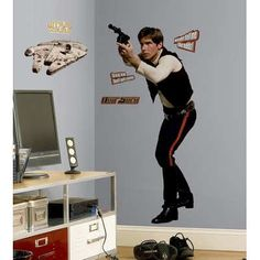 (27x40) Star Wars Classic Han Solo Peel & Stick Giant Wall Decal @ niftywarehouse.com #NiftyWarehouse #Geek #Products #StarWars #Movies #Film