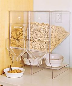 Lots of mouths to feed in your house? Display your cereal in these handy acrylic dispensers.