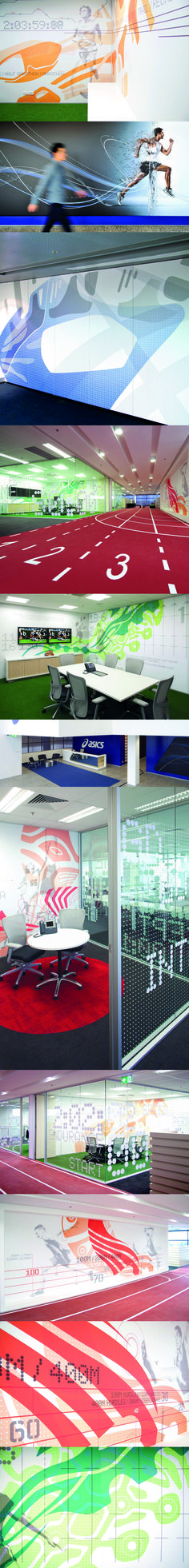 Australian HQ Asics  Sportswear giant ASICS, required dynamic graphic branding for their new 3,000sqm Australian HQ and distribution centre. We chose to highlight the company's dual focus of 'movement and technology' – reminding staff of the core brand values whilst simultaneously providing a stimulating and inspiring space for visitors and staff alike.