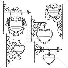 Set of vintage hand-drawn sign boards in shape of heart - outlines, 29756, download royalty-free vector clipart (EPS)