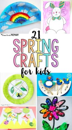 These 21 spring crafts for kids are fun and easy to make in the classroom or at home with simple materials! Create colorful arts & crafts of rainbows, butterflies, birds, flowers, and more to decorate this spring! #summertimecraftsforkids #artsandcrafts