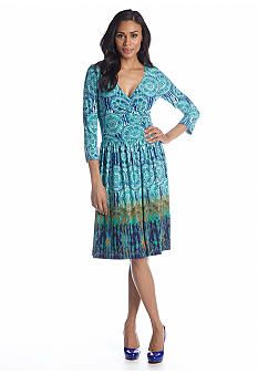 Maggy London Three-Quarter Sleeve Fit and Flare Printed Dress