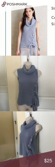 Anthropologie Moth lace up sweater S EUC Excellent condition lace up sweater by Moth purchased at Anthropologie. Super soft and stretchy, 100% cotton. Fits true to size pullover style. Happy to answer any questions. Pls. NO LOWBALL OFFERS. Laying flat, pit to pit measurement is approx. 14in. Shoulder to hem approx. 21in. Color is periwinkle. Anthropologie Sweaters Cowl & Turtlenecks