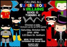 SUPERHEROES vs VILLAINS Birthday Invitation by SewKawaiiKids