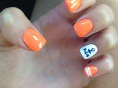 Orange anchor nail design :: one1lady.com :: #nail #nails #nailart #manicure