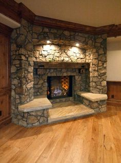 Frame your living room fireplace with built-in seating. 35 Outstanding Interior European Style Ideas To Rock This Summer – Frame your living room fireplace with built-in seating. Rustic Fireplace Mantels, Fireplace Built Ins, Fireplace Seating, Mantles, Basement Fireplace, Fireplace Ideas, Stone Fireplaces, Fireplace Frame, Fireplace Hearth