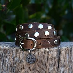 This leather triple wrap with buckle closure has silver studs spaced the length of it. Made of soft leather available in black or dark brown. This wrap is an RC favorite. This is a custom item, so all