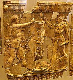Roman terracotta relifef of Hercules vs Apollo. Augustan period.  Palatine Museum