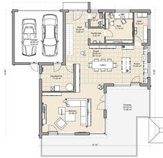 coller Grundriss für ein Doppelhaus mit Garage dazwischen