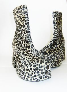 faux fur leopard boots platform boots chunky heel by vintage2049