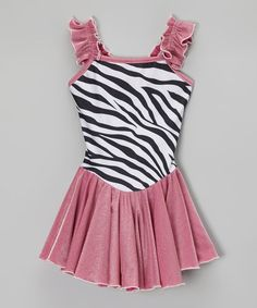 Take a look at this Pink Zebra Skirted Leotard - Girls by Butterfly TREASURES on #zulily today!