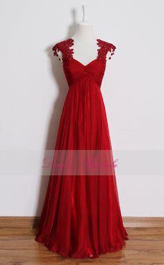 Red+lace+prom+dresslong+empire+waist+bridesmaid+by+DorasWardrobe,+$169.00