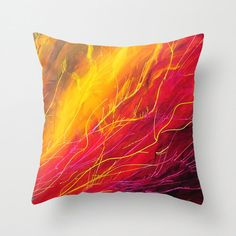 Abstract Art Pillow, Throw Pillow Cover, Bright, Red, Purple, Yellow, Unique Decorative Pillow, Cushion Cover, Sofa Pillow, Accent Pillow