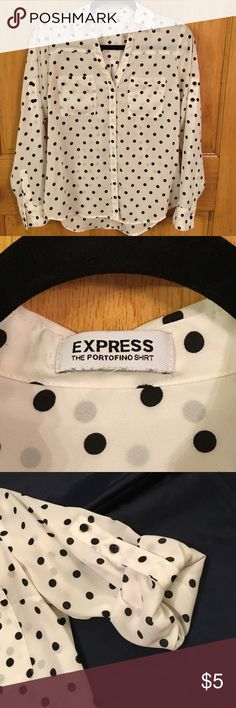 """Express polka dots blouse Express polka dots blouse, in good used condition, some thread came out (see pic), 100% polyester, long sleeves can be rolled to 2 different length (see pic), missing size tag, could fit regular small, see measurement: chest 19.5"""", sleeves 23.5"""", body length: 26.5"""" Express Tops Blouses"""